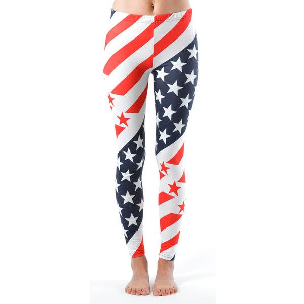 Women's Ladies USA Flag Printed Leggings: Diagonal/Small-Medium (77 SEK) ❤ liked on Polyvore featuring pants, leggings, blue, blue leggings, blue trousers, white leggings, white jersey and white trousers