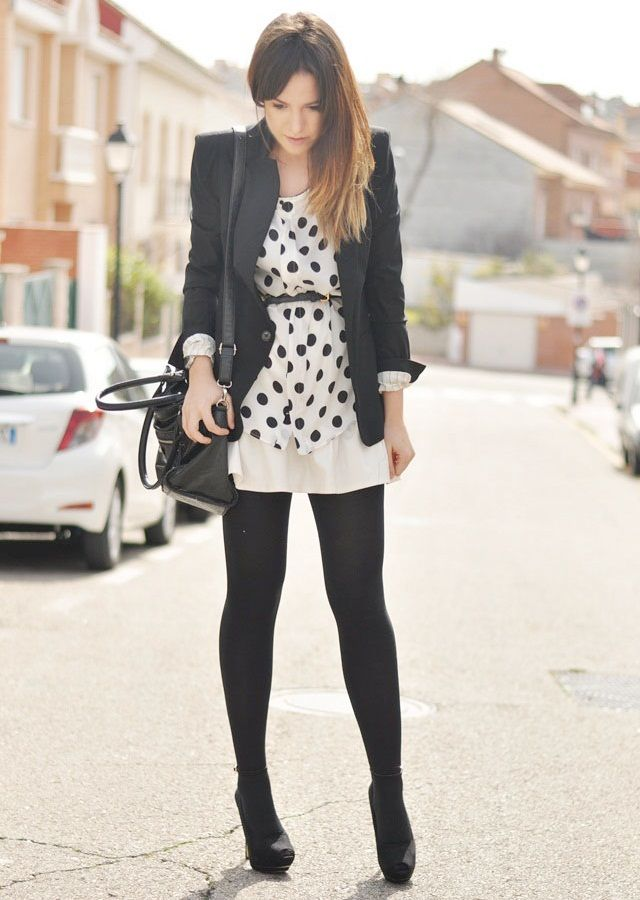 basic black and white with some fun polka dots