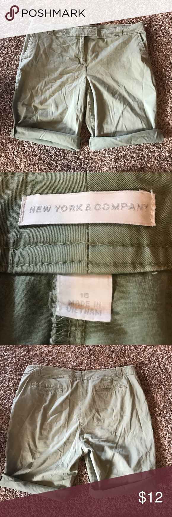 New York & Company army green Bermuda shorts New York & Company army green Bermuda shorts. Can be rolled up to make shorter as seen in the pics. Size 18 New York & Company Shorts Bermudas