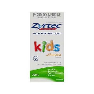 Zyrtec Kids Oral Liquid 75ml. Available from Shop.com for $19.18. https://au.shop.com/Zyrtec+Kids+Oral+Liquid+75ml-1522827635-p+.xhtml