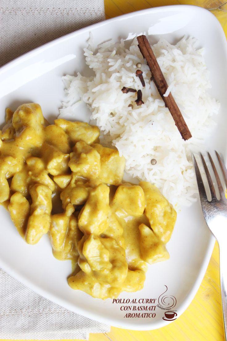 """Un """"Dolcepensiero"""": un piatto etnico indiano che ama moltissimo mio marito. Il pollo al curry è perfetto come piatto unico se lo si accompagna a del buon e profumato riso basmati. E' un piatto molto aromatizzato come è tradizione nella cucina indiana. L'ingrediente principale è il curry ovvero una miscela di spezie e aromi ed essendo un mix di sapori, ci sono numerose varianti che però hanno tutti in comuni almeno tre   ingredienti classici di base come il pepe, lo zenzero e il peperoncino."""