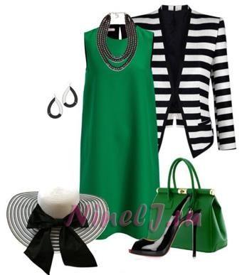 Зеленое платье и черные аксессуары