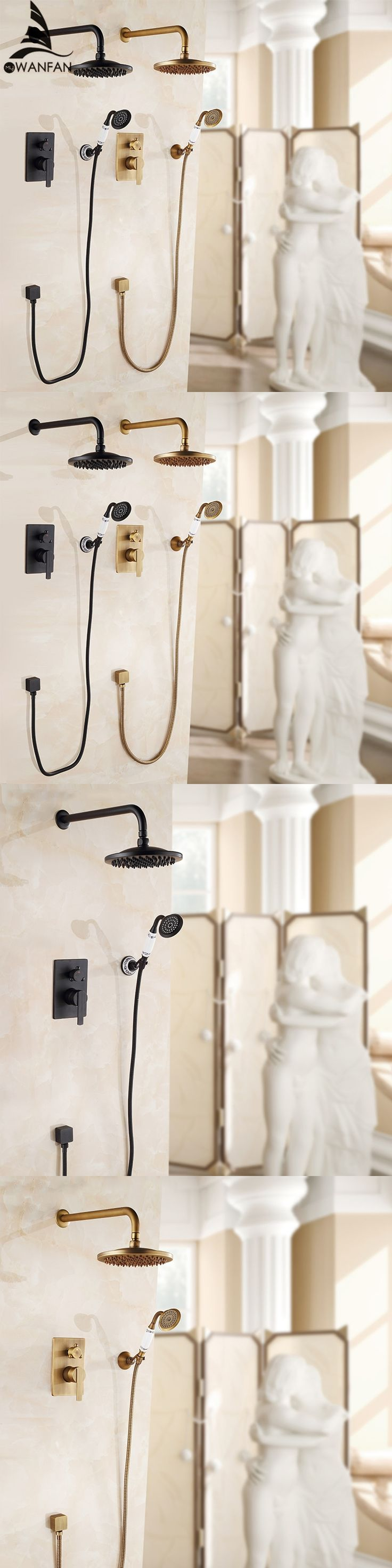 Luxury Bathroom Wall Concealed Antique Shower Faucet Mixer Black Bathroom Shower Kit Bath Mixer Set Shower Two Function FS-13889