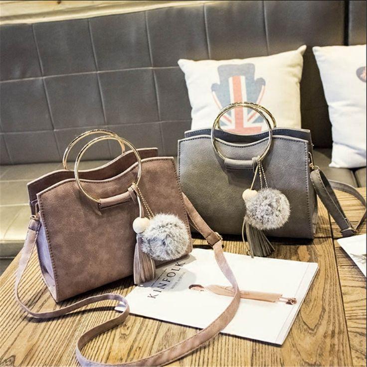 Women Bag Ring PU Leather Ladies Handbags Retro Tassel Women's Handbag Shoulder Messenger Bags Female Trend Hand Bag