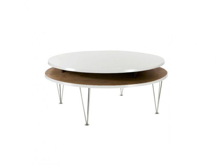 LEVEL Soffbord Rund 97 Vit/Ek i gruppen Inomhus / Bord / Soffbord hos Furniturebox (100-14-19055r)