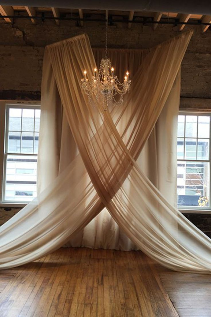 backdrop with hung voile in champagne