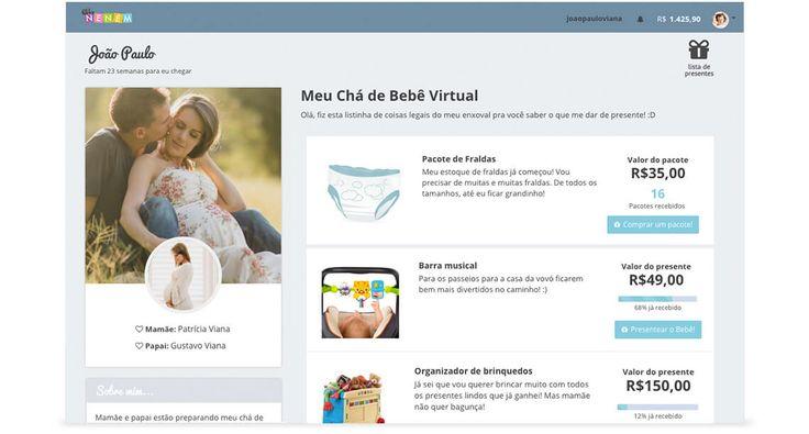 Lista de presente online para chá de bebê
