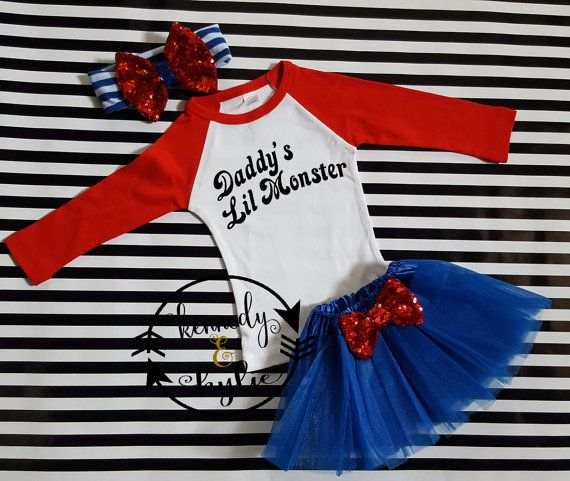 Harley Quinn Tutu Outfit  Baby Girl  Daddy's by kennedyandkylie