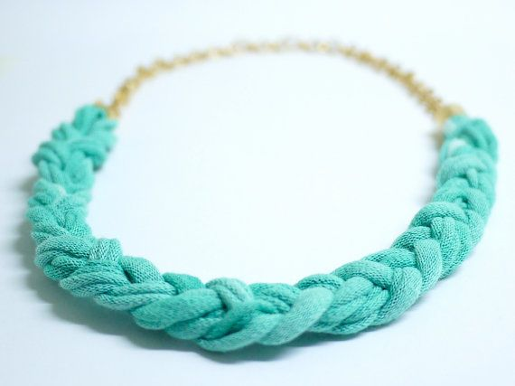 Plaited necklace in mint green tie dye tshirt yarn by gtgadabout, $36.80