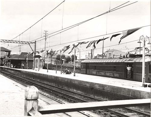 Sutherland Railway Station decorated for the visit of Queen Elizabeth II. Dated: 11/02/1954 Digital ID: 17420_a014_a014000172 Rights: www.records.nsw.gov.au/about-us/rights-and-permissions