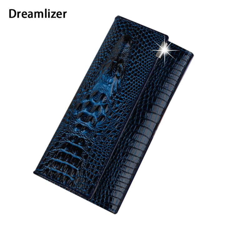 3 Fold Genuine Leather Women Alligator Wallet 13 Color Hasp Crocodile Head Female Clutch Brand Carteras Purse Wallet Women *** Want additional info? Click on the image.