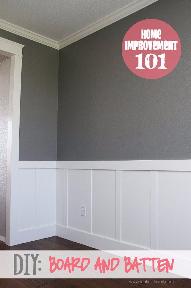 Home Improvement Hacks. - DIY Board and Batten - Remodeling Ideas and DIY Home Improvement Made Easy With the Clever, Easy Renovation Ideas. Kitchen, Bathroom, Garage. Walls, Floors, Baseboards,Tile, Ceilings, Wood and Trim. http://diyjoy.com/home-improvement-hacks