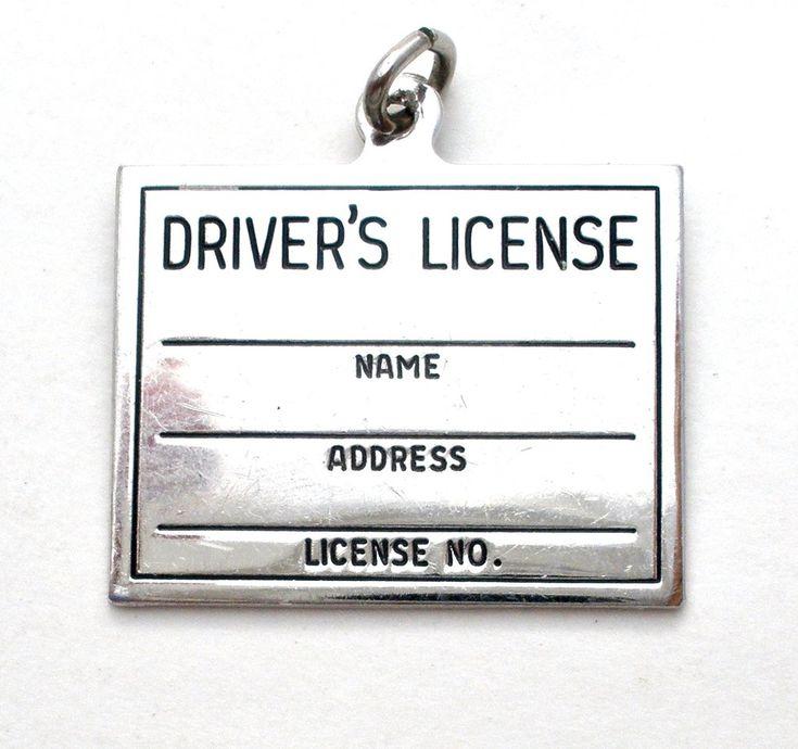 Driver's License Charm Pendant Sterling Silver Vintage