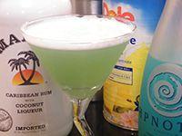 Hpnotiq Martini Recipe (4 oz Hpnotiq, 2 oz pineapple juice, 2 oz Malibu rum). This was VERY sweet, but delicious!!!