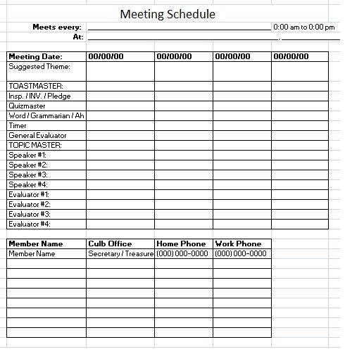 meeting schedule template printables pinterest