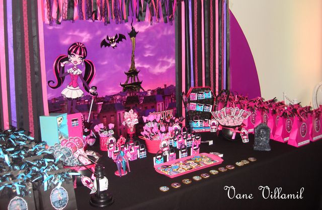 Love this dessert table at a Monster High Party!  See more party ideas at CatchMyParty.com!  #partyideas #monsterhigh