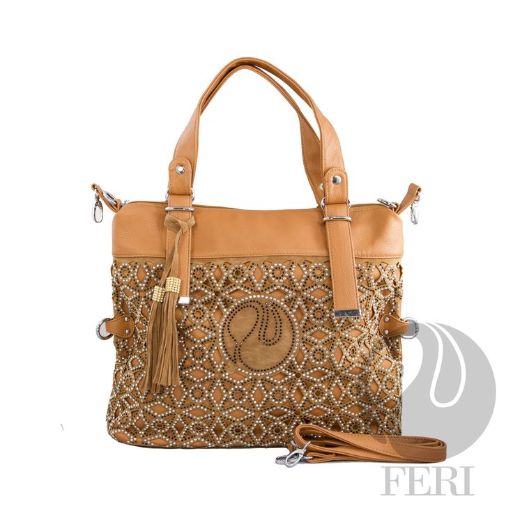 "FERI Day2Day - Eden - Purse - Tan - FERI Day2day Sparkle collection square - Laser cut faux suede embellished with black and silver mini stones - Made from PU leather - Exterior zippered pouch - 2 interior compartments separated by a zippered pouch - Comes with shoulder strap - Dimension: 18.11"" x 13.78"" x 5.51""  www.gwtcorp.com/ghem or email fashionforghem.com for big discount"