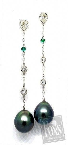 Dangle Earrings with Tahitian Black Pearl, Diamond and Emerald Beads