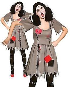 Freaky Voodoo Doll Ladies Scary Horror Dolly Halloween Fancy Dress Costume