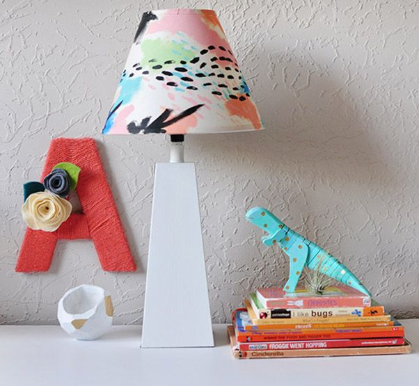 A DIY Colorful Painted Lamp Shade perfect for any room in your home!