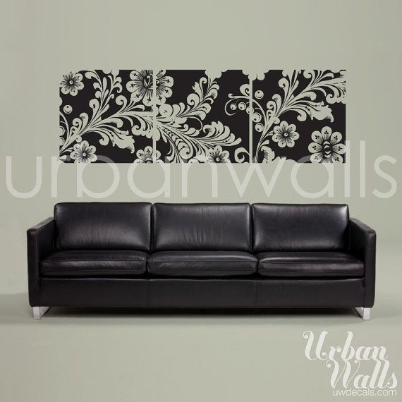 Framed Flowers Wall Decal/Sticker - Great way to hang art in a rental where you aren't allowed to make holes in the wall. Can choose a different color.