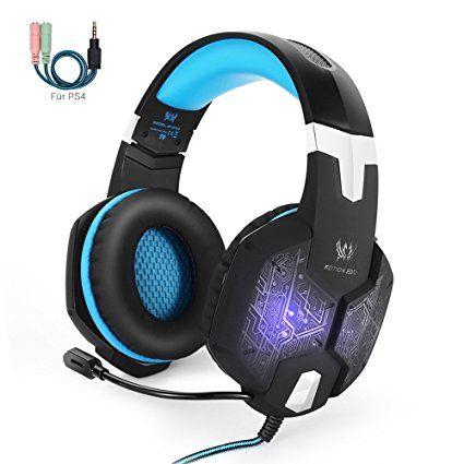 Marke: Marsboy   Modell: G1000 KOTION EACH  Gaming Headset PS4, marsboy Gaming Kopfhörer mit Mikrofon LED Effekt für PS4 PC Film Gaming Spielen Chat Musik Blau.
