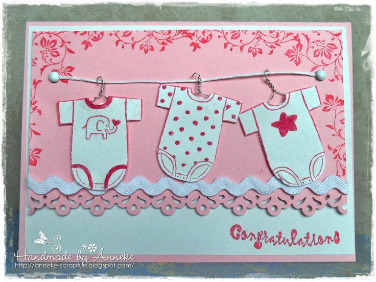 Anneke's Scrapfun: Geboortekaartje baby meisje roze