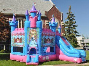 """Bounce House Inflatable Combo Princess Castle Slide and Moonwalk Includes 1.5 Hp Blower by TentandTable. $2699.99. TentandTable Inflatables Are Manufactured With 15 Ounce Plato® """"Lite and Strong"""" Vinyl with Super Tough 1000 Denier Base Material. TentandTable, Inflatables are Manufactured Using Fire Resistant Vinyl That Meets or Exceeds the National Fire Protection Association Fire Resistance Standards.. What's Included - 1.5 HP Zoom Bounce House Blower, 8 Stakes, Heavy Duty Stor..."""