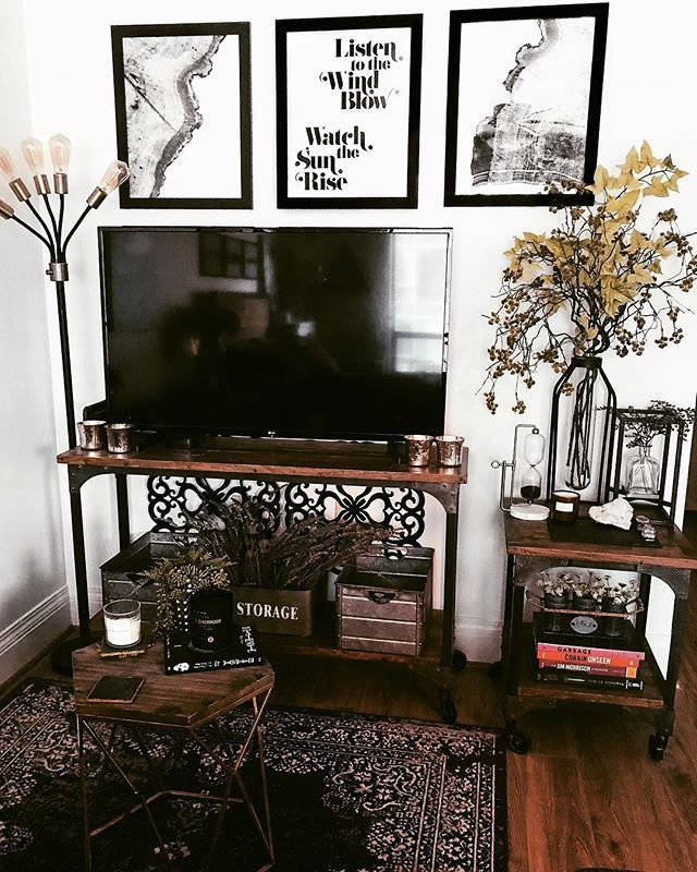Ah My Rustic Living Room Dark And Moody Decor Warmed Up With Wood Accents Is My Jam Industrial Decor Living Room Rustic Living Room Small Living Room Decor