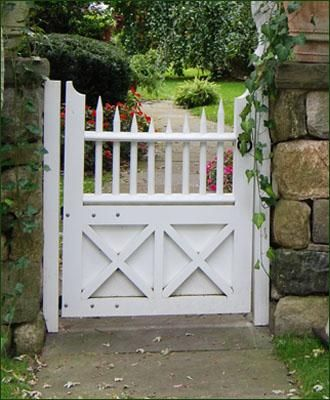 Custom Spindle-top Walk Gate - Curved posts, concave spindle pattern, double �X� braced bottom panel, and quality Walpole hardware work harmoniously in this custom designed cellular vinyl walk gate. Round cellular vinyl pickets are another Walpole signature.