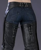 Corset Style Leather Motorcycle Chaps in Black
