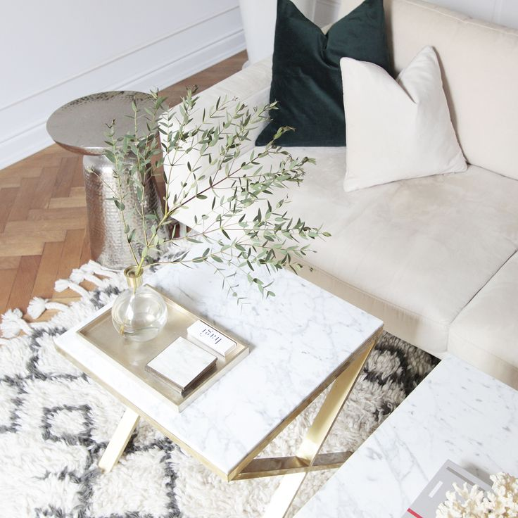 Brass & Marble Coffetable by Magdalena Tekieli
