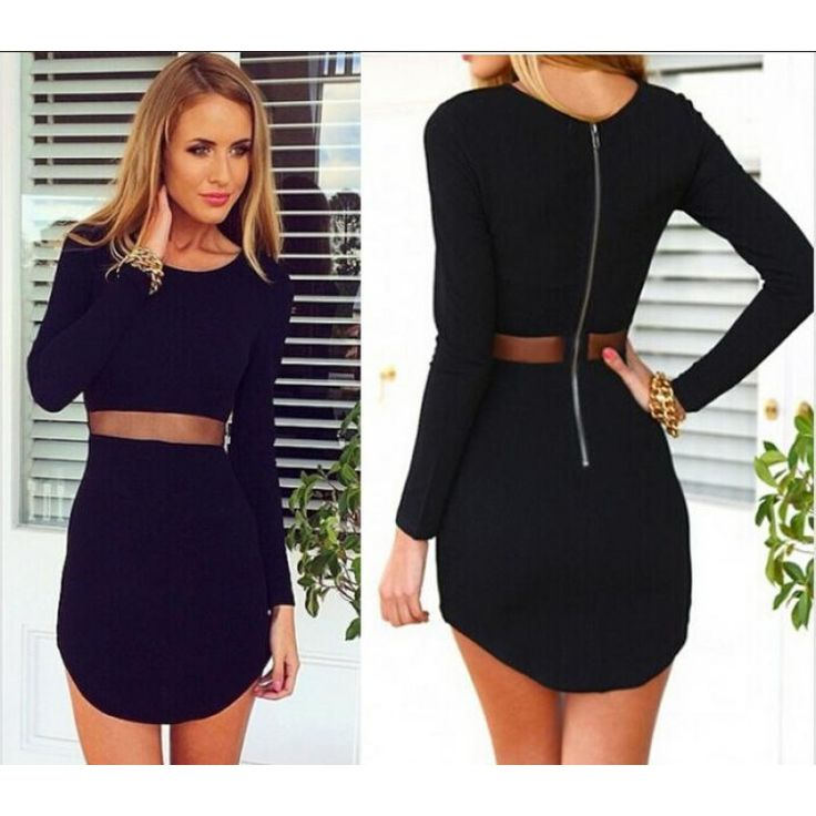"""Long Sleeve See-through Sexy Slim Irregular Dress. ZNU Pre-National Father's Day Sale!! Hot sale Long Sleeve Blouse! Big discount at this promo Save 35% if Up to $35 with Code """"father""""!!"""
