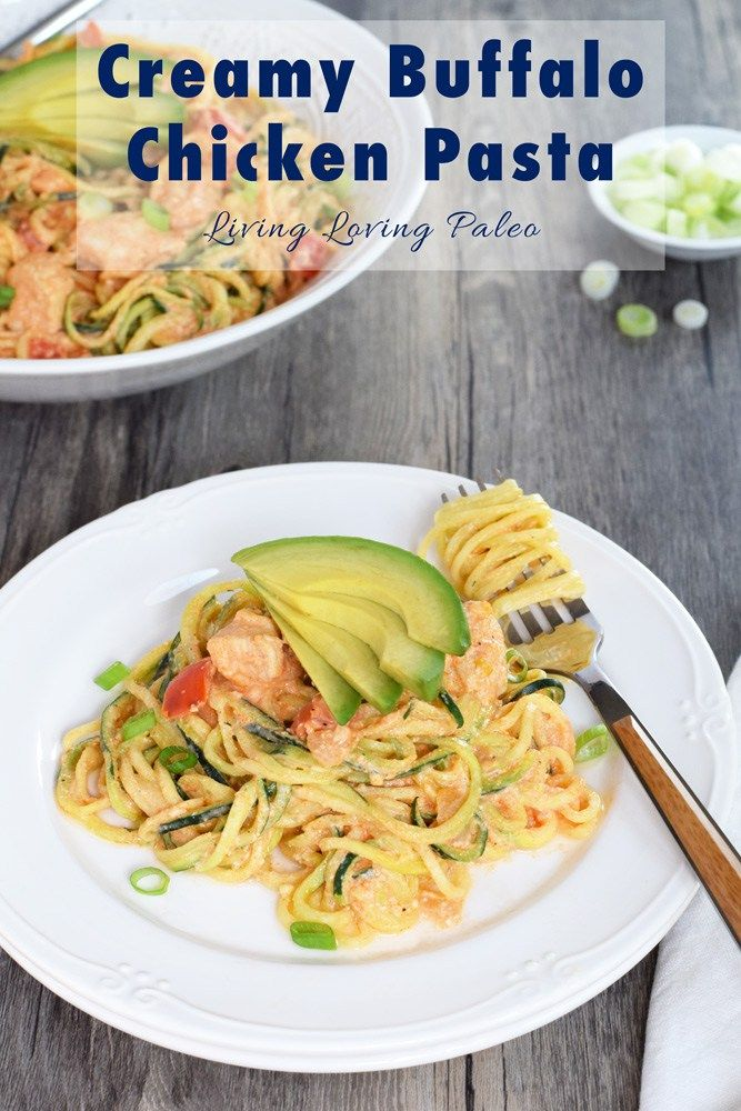 """Creamy Buffalo Chicken """"Pasta"""" 