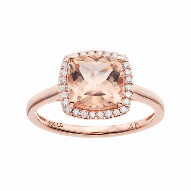 lc lauren conrad 10k rose gold morganite 18 carat tw diamond cushion halo - Lauren Conrad Wedding Ring