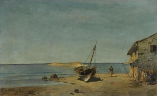 The fisherman's home on the beach - Konstantinos Volanakis