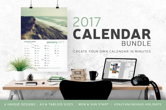 Calendar Bundle - 2017 by bilmaw creative on @creativemarket   Print template   Branding   Promotion   2017 Calendar Bundle - 6 Unique Designs 6 Styles // A3 (210 x 297 mm) & Tabloid (11 × 17 inch) Versions