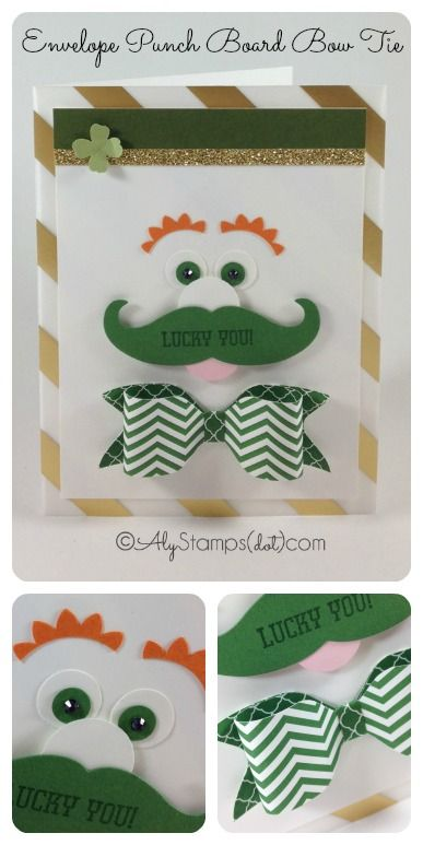 Use the Envelope Punch Board to make the Bow Tie on this CUTE Leprechaun Punch Art for St. Patrick's Day! Using all Stampin' Up! Punches.