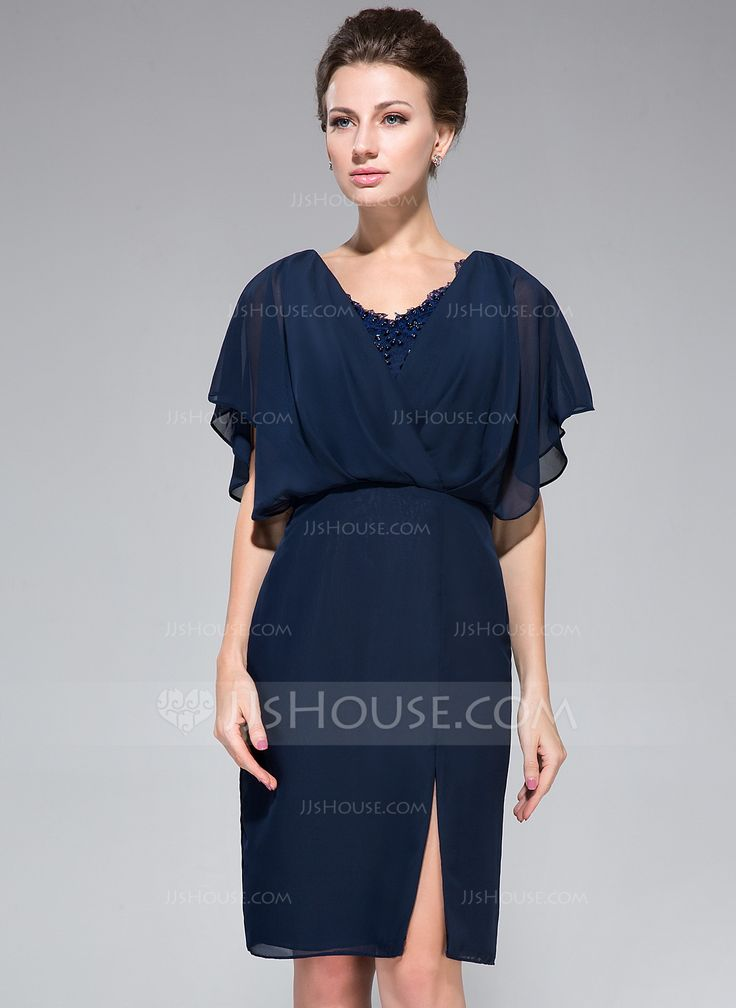 Sheath/Column V-neck Knee-Length Chiffon Mother of the Bride Dress With Lace Beading Sequins Split Front Cascading Ruffles (008050417) - JJsHouse