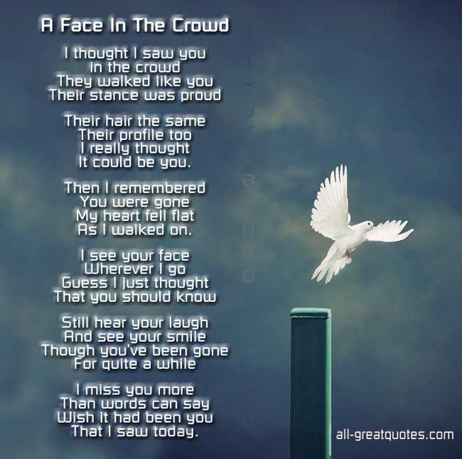 birthday in heaven quotes to post on facebook | FREE - In Loving Memory Poem Cards - A Face In The Crowd