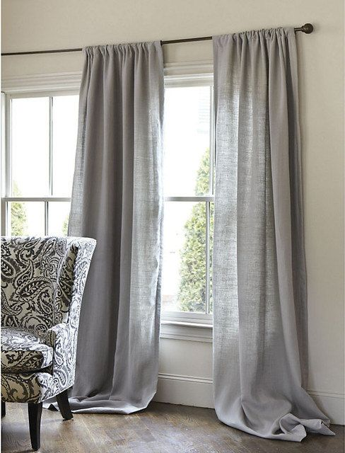 Beautiful Solid Grey Cotton Linen Window Treatments Choose width of panels and your custom chosen length-with a 3 inch pocket rod for hanging. This listing is for 2 panels this is an upscale upholstering weight cotton fabric.