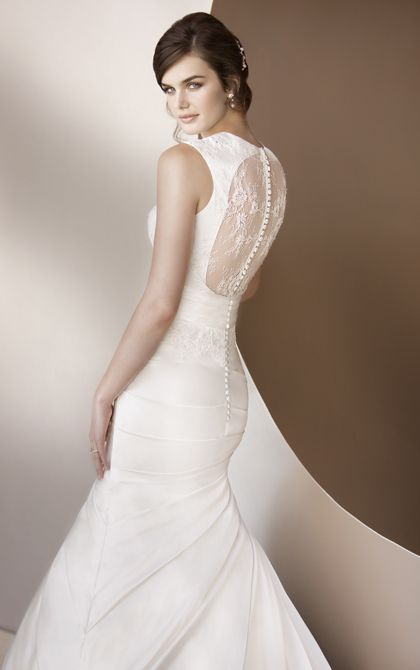 keyhole back wedding dresses feature dolce satin and clear crystal detail.