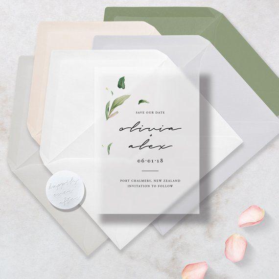 Translucent Vellum Botanical Save The Dates With Premium Envelope Embossed Sticker Botanical Save The Dates Save The Date Invitations Soap Packaging Design