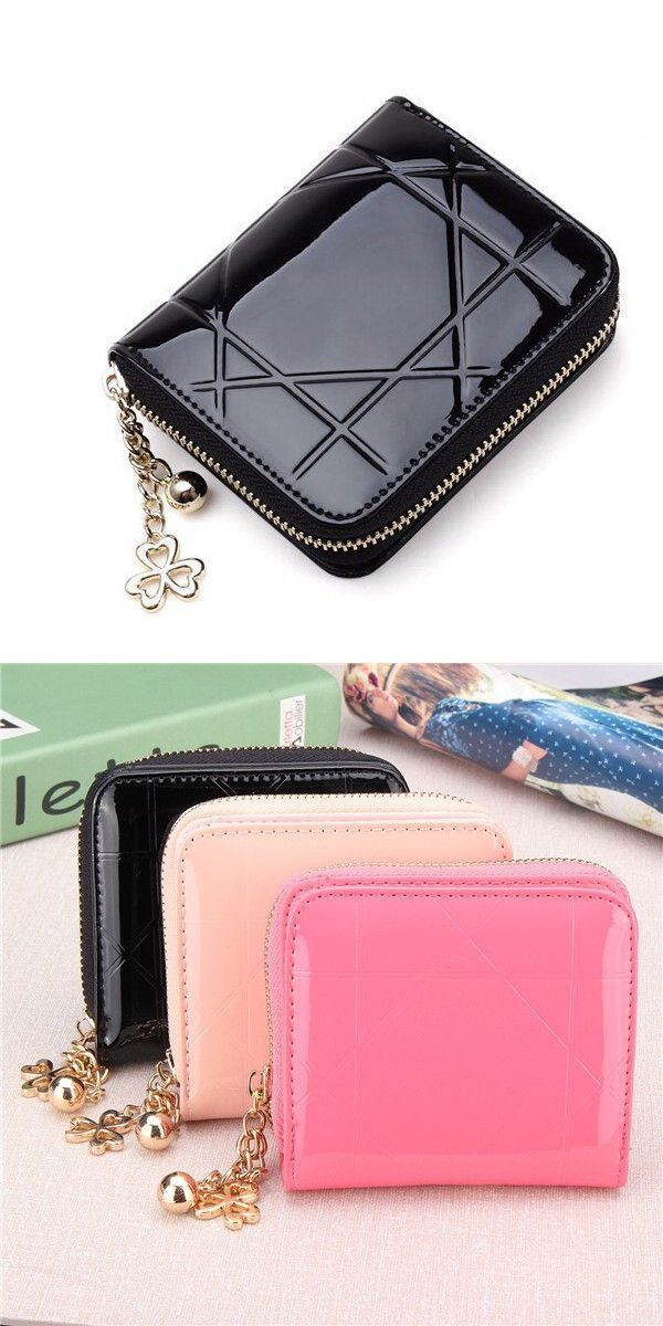 66a6db4120d6 Women patent leather quilted short wallet girls cute candy color zipper purse  card holder coin bags l shaped leather wallets  9  inch  wallets  fallout  4  ...
