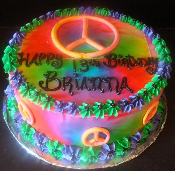 Peace Sign Birthday Cake Photos