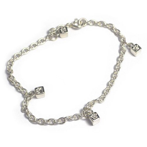 Handmade silver bracelet with tiny cubes with cute little paws on them. Parts of the income goes directly to selected shelters for homeless cats.