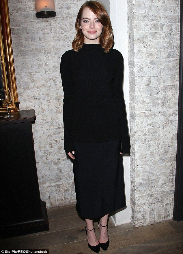 Dark horse: Emma Stone stole the show at a La La Land luncheon in New York on Sunday...