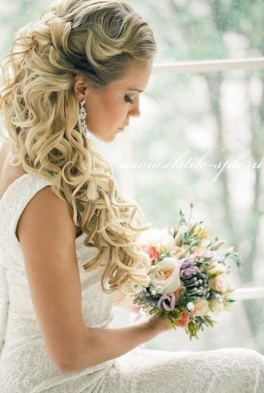 Sophisticated Half-up Half-Down Long Hairstyle for Wedding