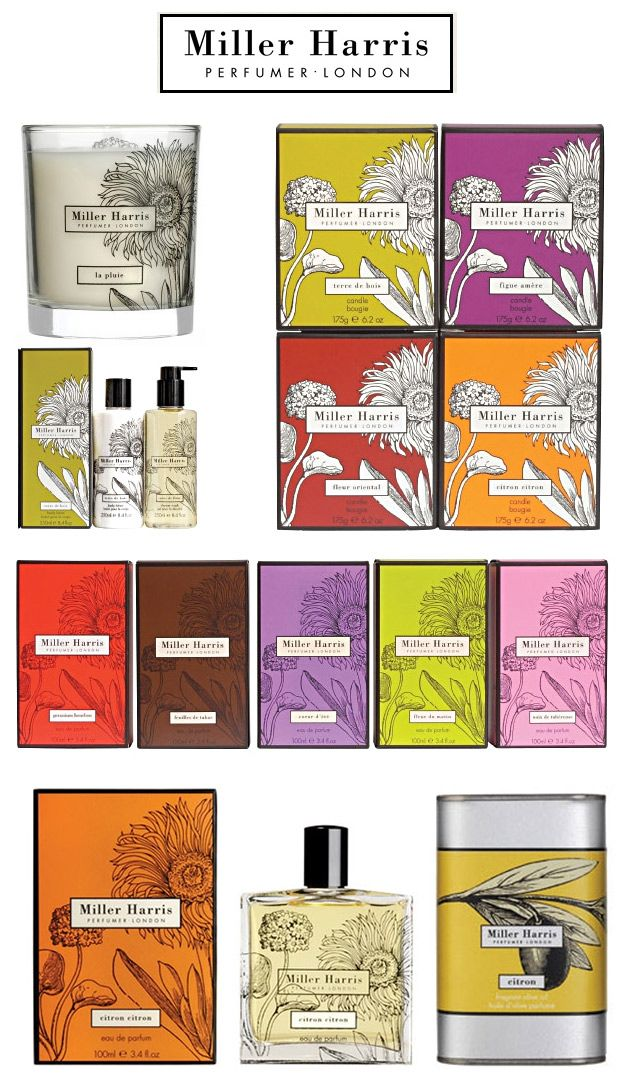 Miller Harris Perfumer and Scented Goods (London). Branding by Stuido176.