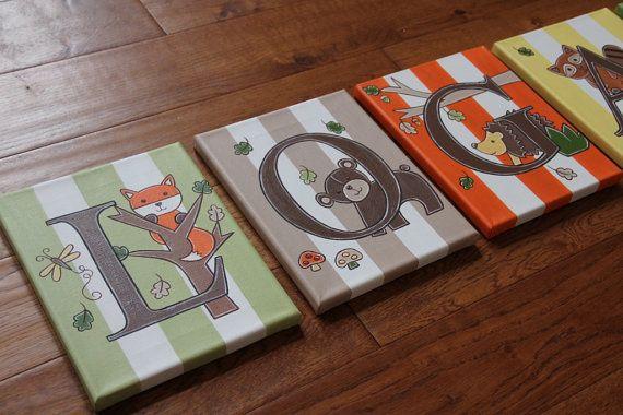 "8"" x 10"" Personalized Name Wall Owls Hedgehog Woodland Creatures Lambs & Ivy Echo Nursery Bedding Canvas Art Boys Girls Room Decor"
